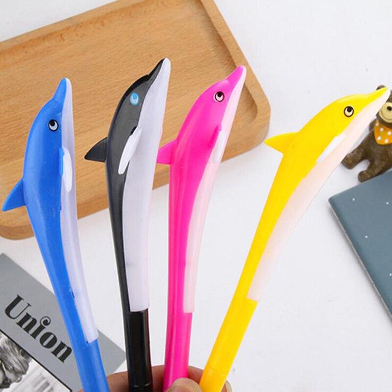 Творческий kawaii Дельфин 0,5 мм гелевая ручка черного цвета Студенческая обувь, черная ручка письменные принадлежности Офисная школьная Ручка...