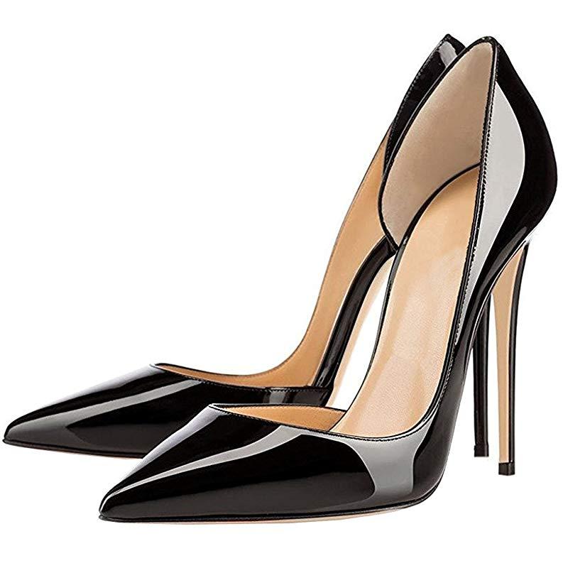 Lovirs-حذاء نسائي بكعب عالٍ ، حذاء بكعب عالي ، كعب 10 سنتيمتر ، بدون أربطة ، مضخات براءات الاختراع ، حفلات الزفاف ، مقاس كبير
