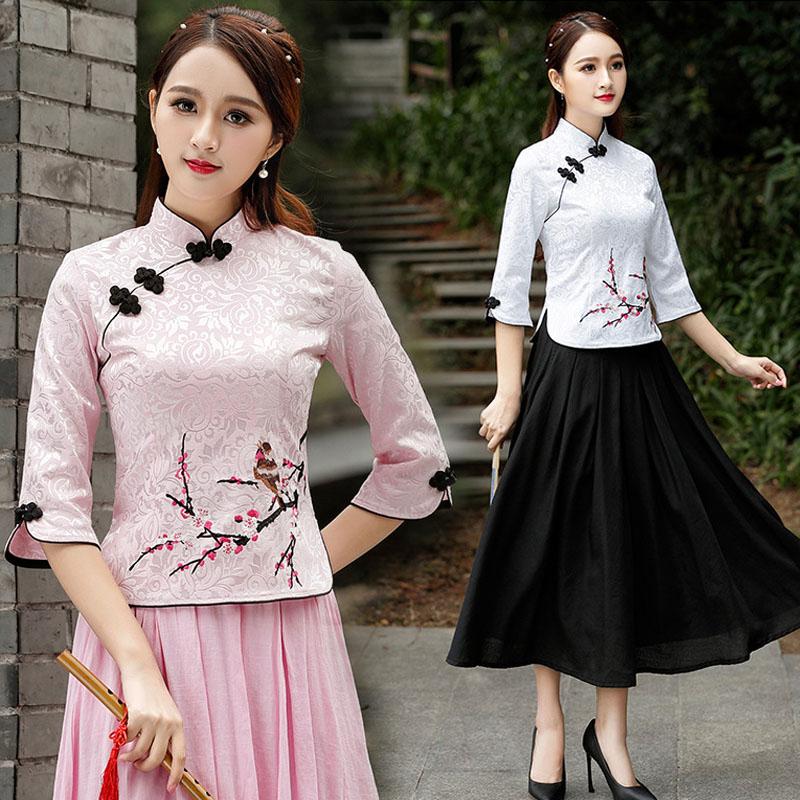 Женская китайская блузка чонсам, хлопковая блузка с 7 точками сливы и длинным рукавом, большой размер 4XL