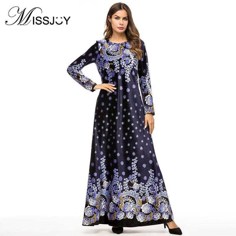 MISSJOY Velvet Maxi vestido Kafta turco abayas Dubai mujeres de manga larga flor impreso islámico pakian musulmán Medio Oriente señoras