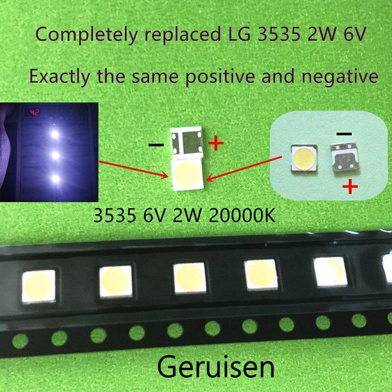 100 шт. для ремонта ЖК-телевизора LG led TV подсветка полосы света с светоизлучающим диодом 3535 SMD светодиодные бусины 6V LG 2W