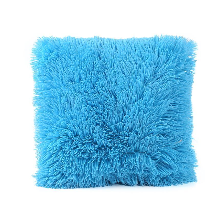Macio de pelúcia praça capa almofada sólida cintura lance travesseiro caso diy sofá do carro casa decorativa capa travesseiro 45cm fronha 18july30