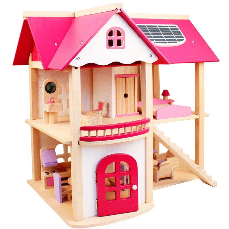 Juguetes Educativos puzle casa de muñecas juguetes para niñas regalos de madera grande montado DIY simulación rosa Villa casa de juegos casa Juguetes