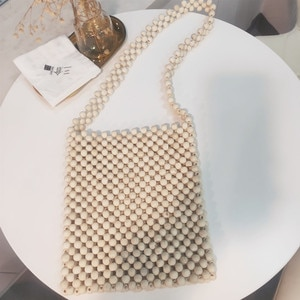Fashion Women Wood Beaded Bag Handmade Knitting Pearl Clutch Bag Wood Summer Beading Handbag Lady Woven Beach Pearl Clutch Purse