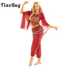 TiaoBug femmes Halloween carnaval scène Performance egypte danse du ventre Costume Bollywood indien danse robe mousseline Sari ensemble