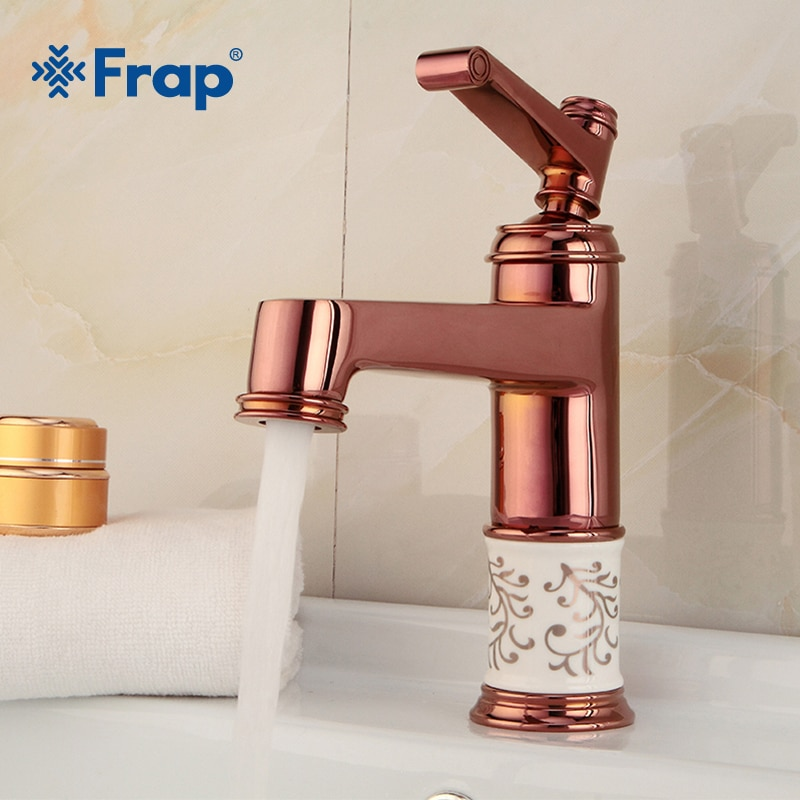 Frap-صنبور حوض الحمام ، عرض ساخن ، صنبور مياه بارد وساخن, ملحقات الحمامات ، مقبض واحد وردي ذهبي نحاسي