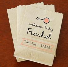 Personalizado Papel Kraft Lanche Da Meia Noite Nupcial do Chuveiro de bebê presentes de sobremesas Favorece Sacos De Biscoito Padaria Nomes Personalizados e impressão da Data