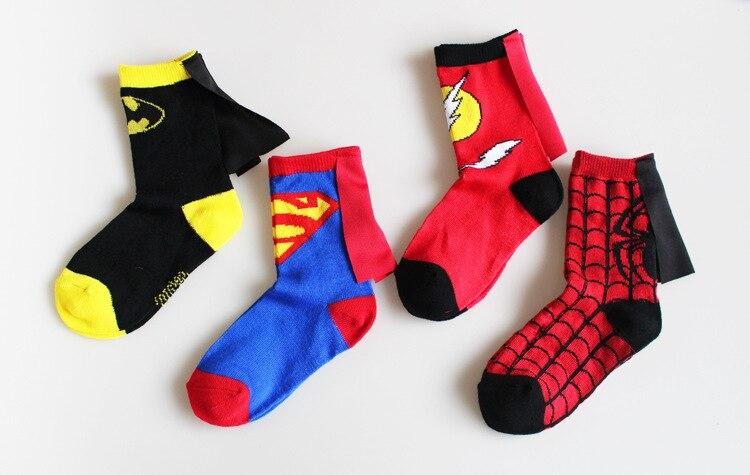 Meias de algodão do capitão américa, crianças, super-homem, batman, homem aranha, flash, fantasia, futebol, basquete, esportes
