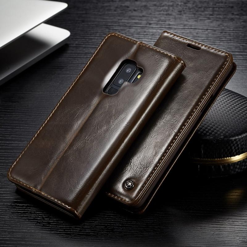 Tampa Articulada de luxo Para Samsung Galaxy S7 Borda S8 S9 S10 Plus Nota 9 A3 A5 2016 Couro Real Genuíno titular do Cartão carteira Caso de Telefone