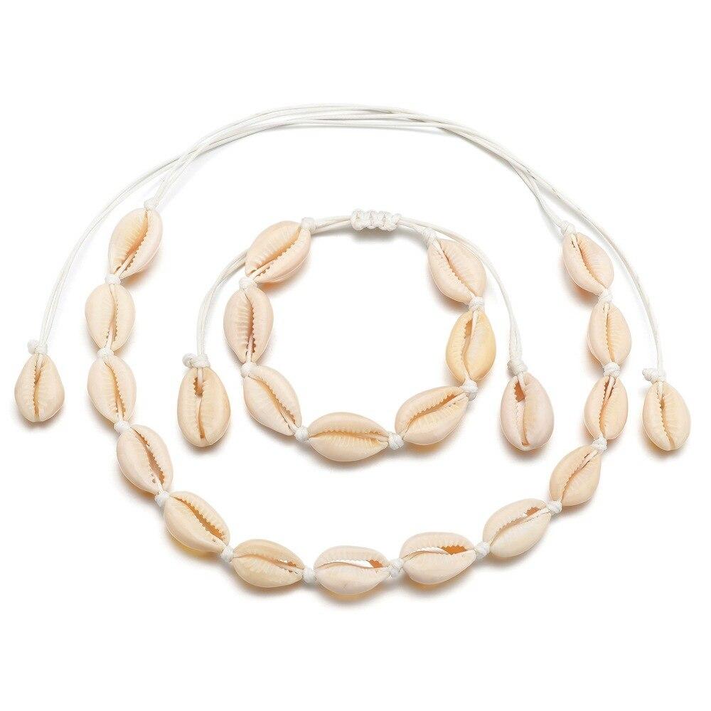 Conjuntos de joyas de concha Bohemia para mujer Cadena de cuerda hecha a mano 2 piezas pulsera collar jweller conjunto Boho verano Accesorios de playa