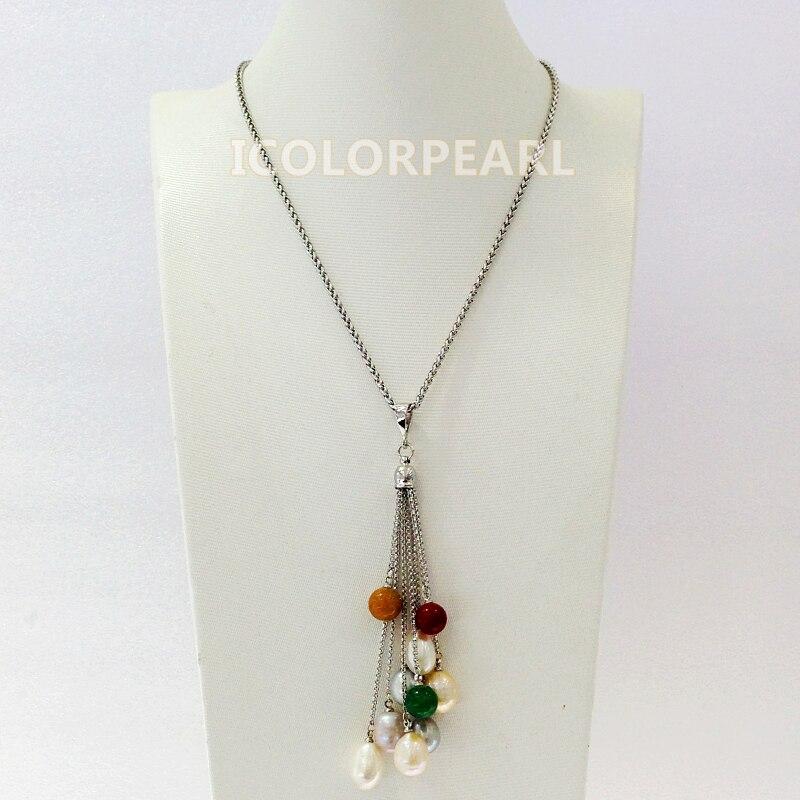 Weicolor 40-45 + cm 8-9mm pedras redondas e pérola de água doce natural multicolorido na corrente chapeada de prata (não perderá a cor)