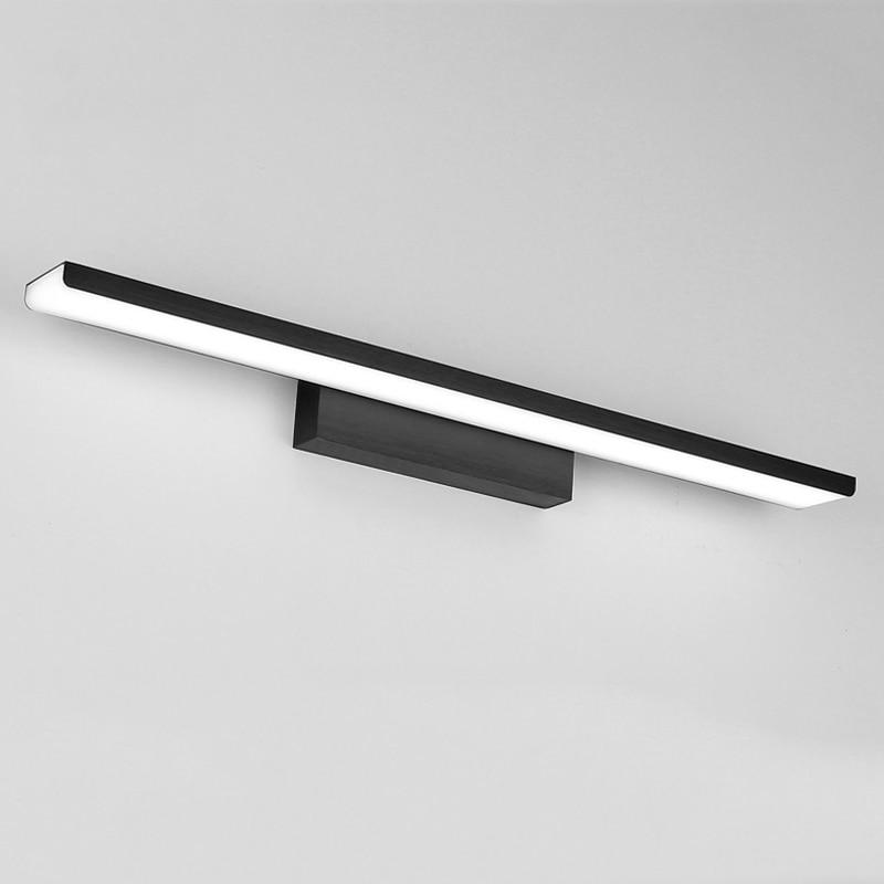 Espejo frontal de aluminio negro y plateado dorado, lámpara led para baño, aplique de acrílico para pared de 110V 220V 16W 410mm