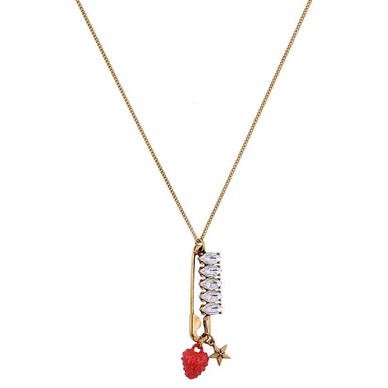 Chique barato colar para mulher casual antigo ouro cor vermelho morango cristal pino pingente longo corrente colar vintage