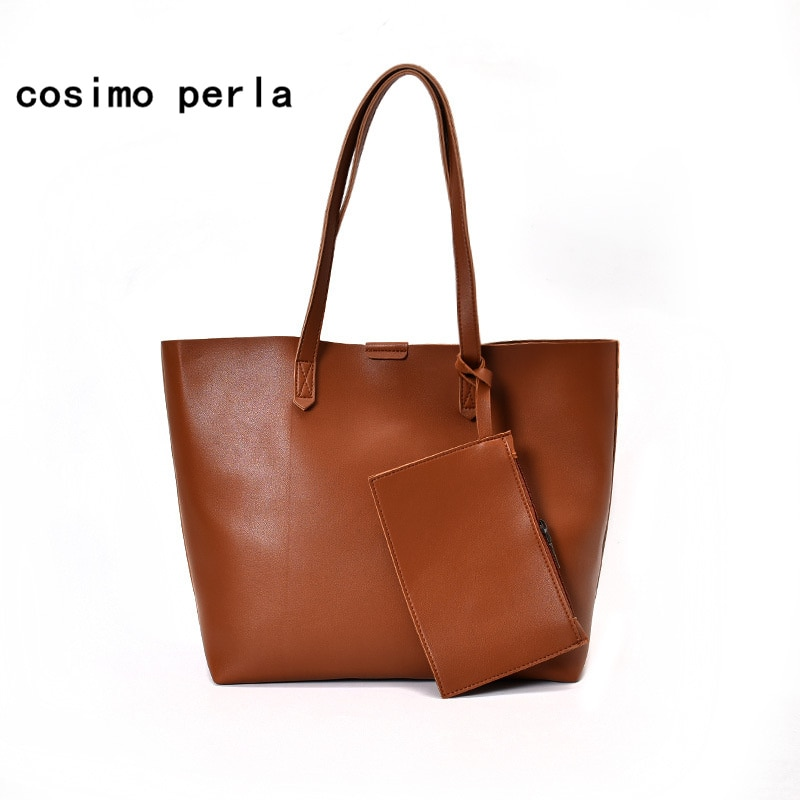 Korean New 2020 Fashion Causal Women Tote Bag Set PU Leather Handbags Large Capacity Shoulder Bags with Purses Lady bolsos mujer
