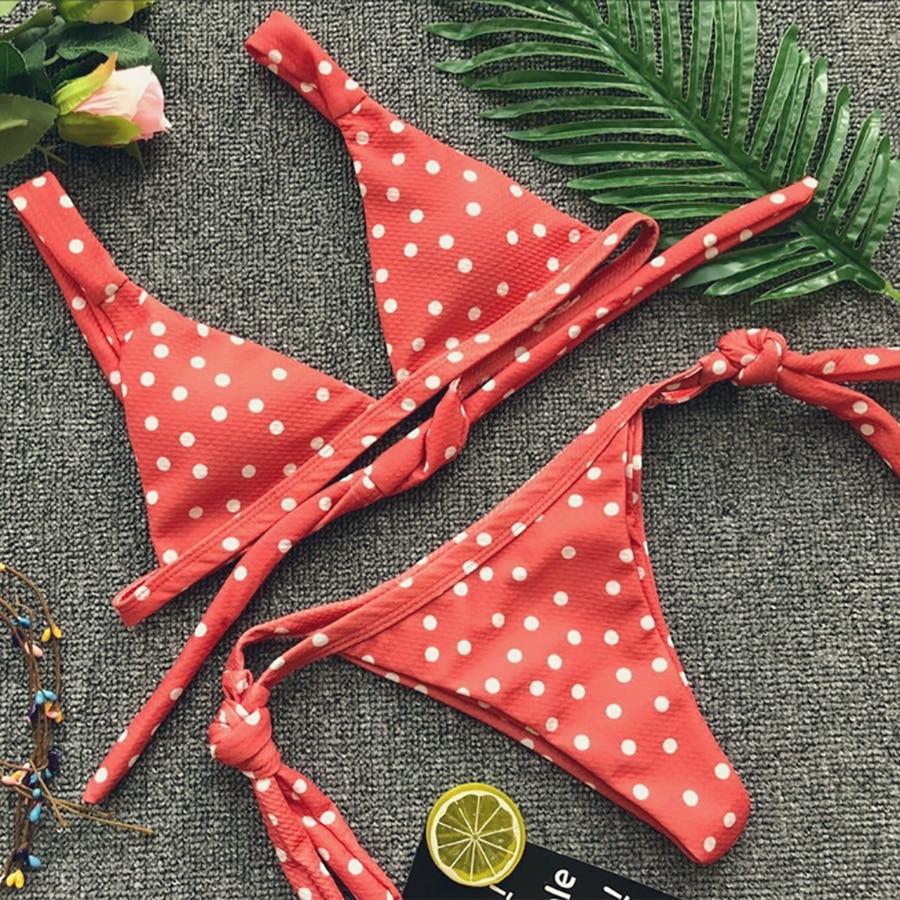 Laranja polka dot bikini sexy bandagem maiô feminino fatos de banho brasil biquini push up mini bikini 2018 feminino biquíni
