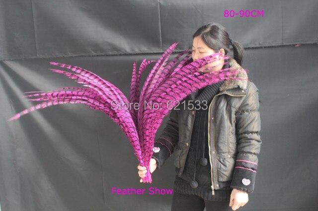 ¡30 unids/lote! Centro señora Amherst faisán cola plumas teñido color rosa 30-35 80-90 cm de largo
