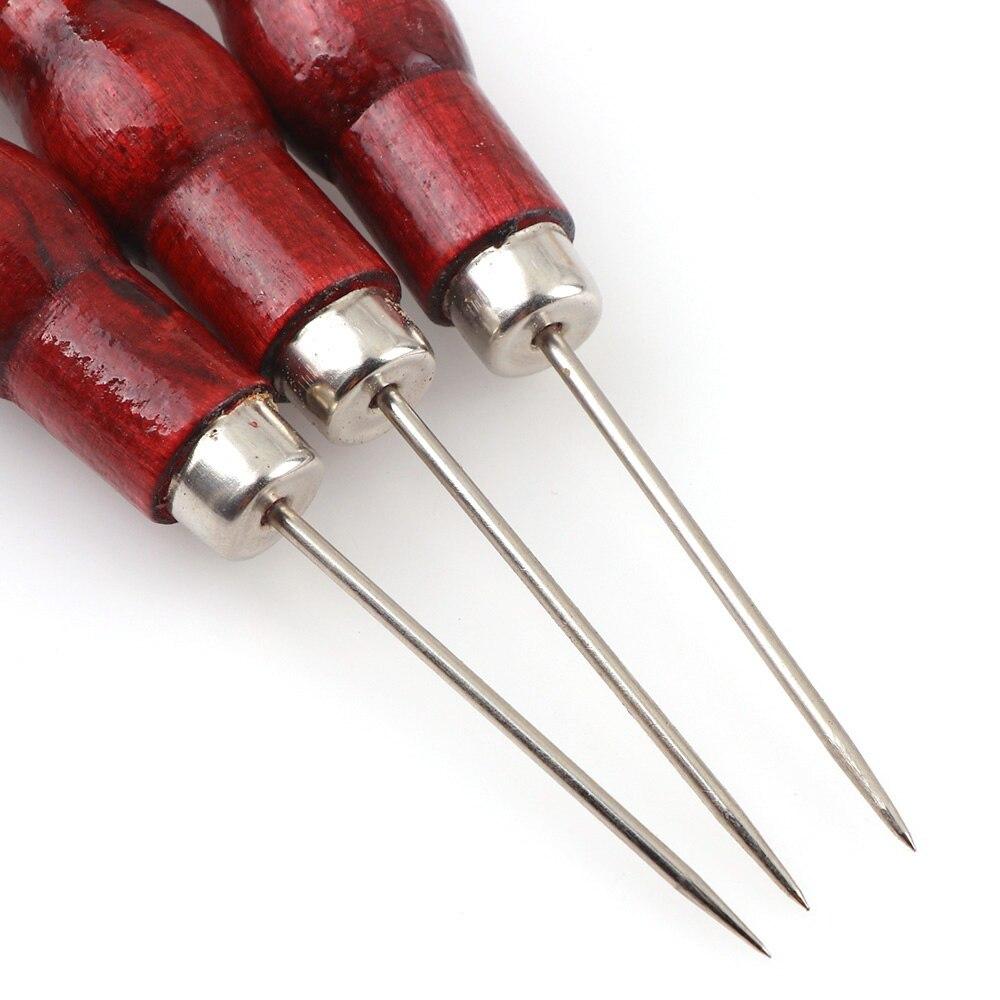 2Pcs Rot Farbe Leder Handwerk Spitze Ahle Hand Nähen Werkzeug Leder Rand Slicker Kit Ahle Loch Puncher Positionierung Bohrer werkzeuge