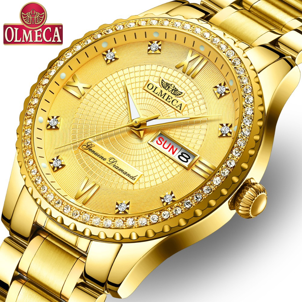 OLMECA Male Clock Military Men s Watch Fashion Stainless Steel Montre Homme Waterproof Watches Gold Wrist Drop-Shipping