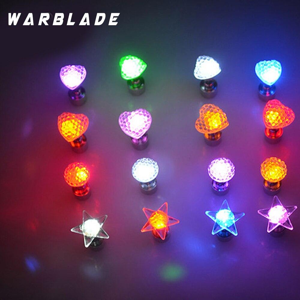 1 шт. очаровательные светодиодные серьги со светящимися звездами и кристаллами из нержавеющей стали, круглые серьги-гвоздики, ювелирные изделия для женщин, для вечеринок в ночном клубе