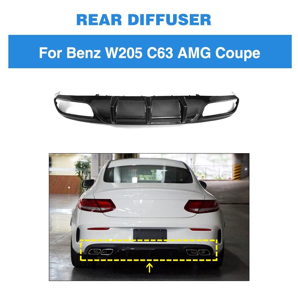 Para difusor de parachoques trasero alerón de labio para mercedes-benz Clase C C205 C63 AMG Coupe 2 puertas 2015 - 2019 alerón de fibra de carbono para coche