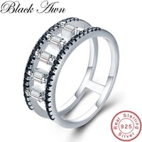 black awn real 925 sterling silver jewelry finger ring black spinel hollow wedding rings for women g033