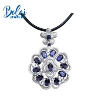 bolaijewelrynatural gemstone iolite leather chord pendant necklace in 925 sterling silver fine jewelry for woman best gift