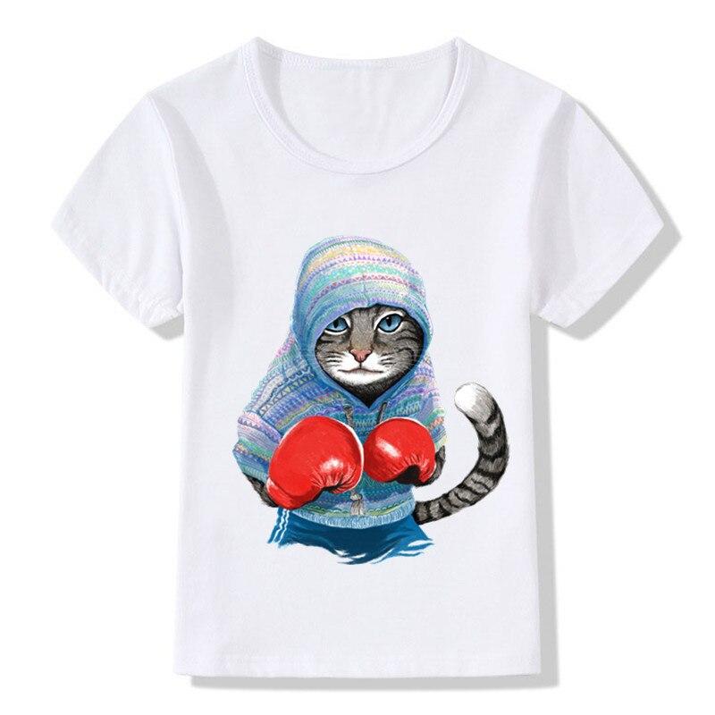Camiseta divertida de verano con diseño de gato de boxeo de ataque para niños, ropa de dibujos animados para bebés, camisetas informales para niños y niñas, ooo5043