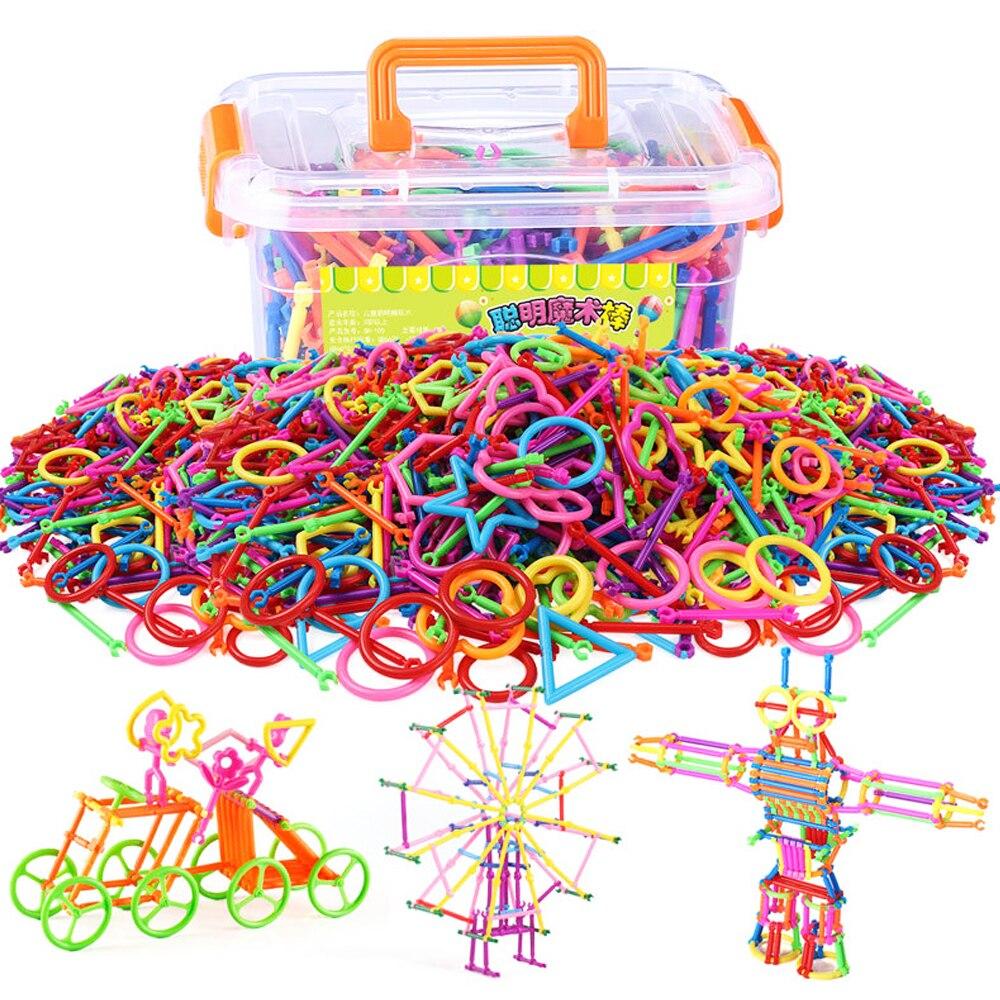 500 pièces assemblé blocs de Construction baguette magique bâton intelligent concepteur magnétique ensemble de Construction jouets éducatifs pour les enfants