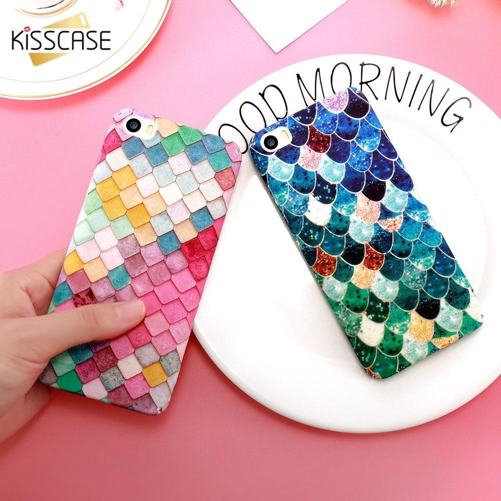 KISSCASE Case For Xiaomi Mi6 Mi5 Luminous Mermaid 3D Fish Scales Case For Huawei P9 P10 Plus Cute Girly Phone Back Cover Fundas