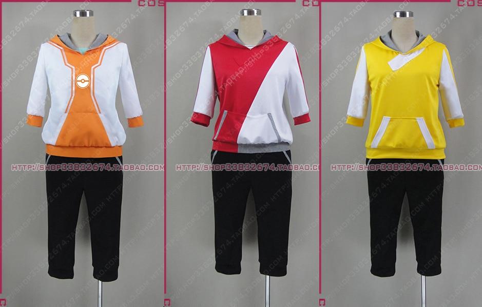 Pocket Monsters juego Pokemon Go entrenador femenino masculino Avatar Anime Cosplay disfraz rojo amarillo naranja coatume