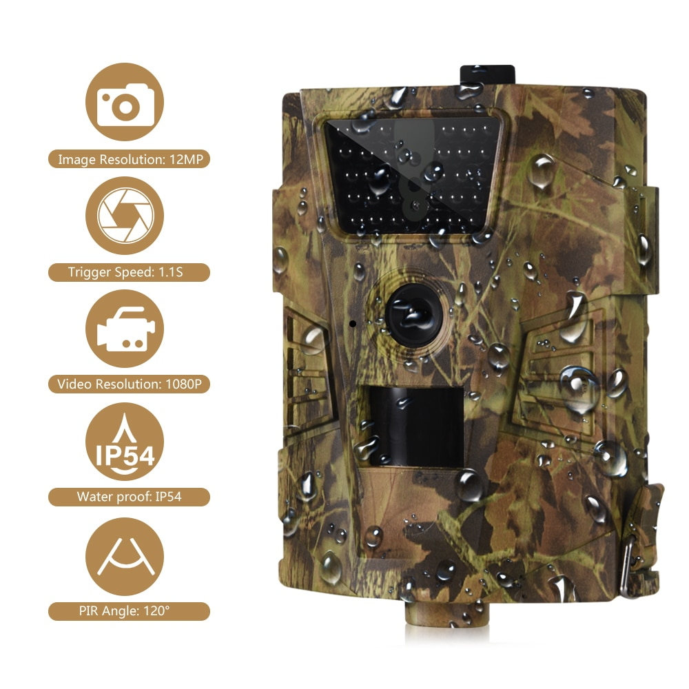 Cámara de rastreo a prueba de agua IP65, cámara salvaje, cámara de caza de 12MP, cámara infrarroja de 30 Uds de 850nm, 1080P, trampas para fotos de vida salvaje para cazadores