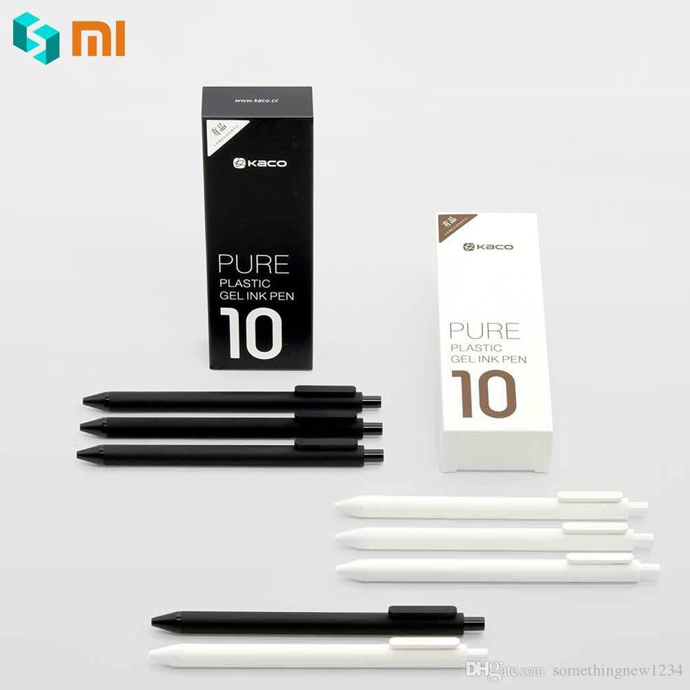 10 unids/lote Xiaomi pluma KACO 0,5mm Xio mi bolígrafo para la escuela Oficina Gal tinta escritura suave duradero firmar recarga de tinta negra