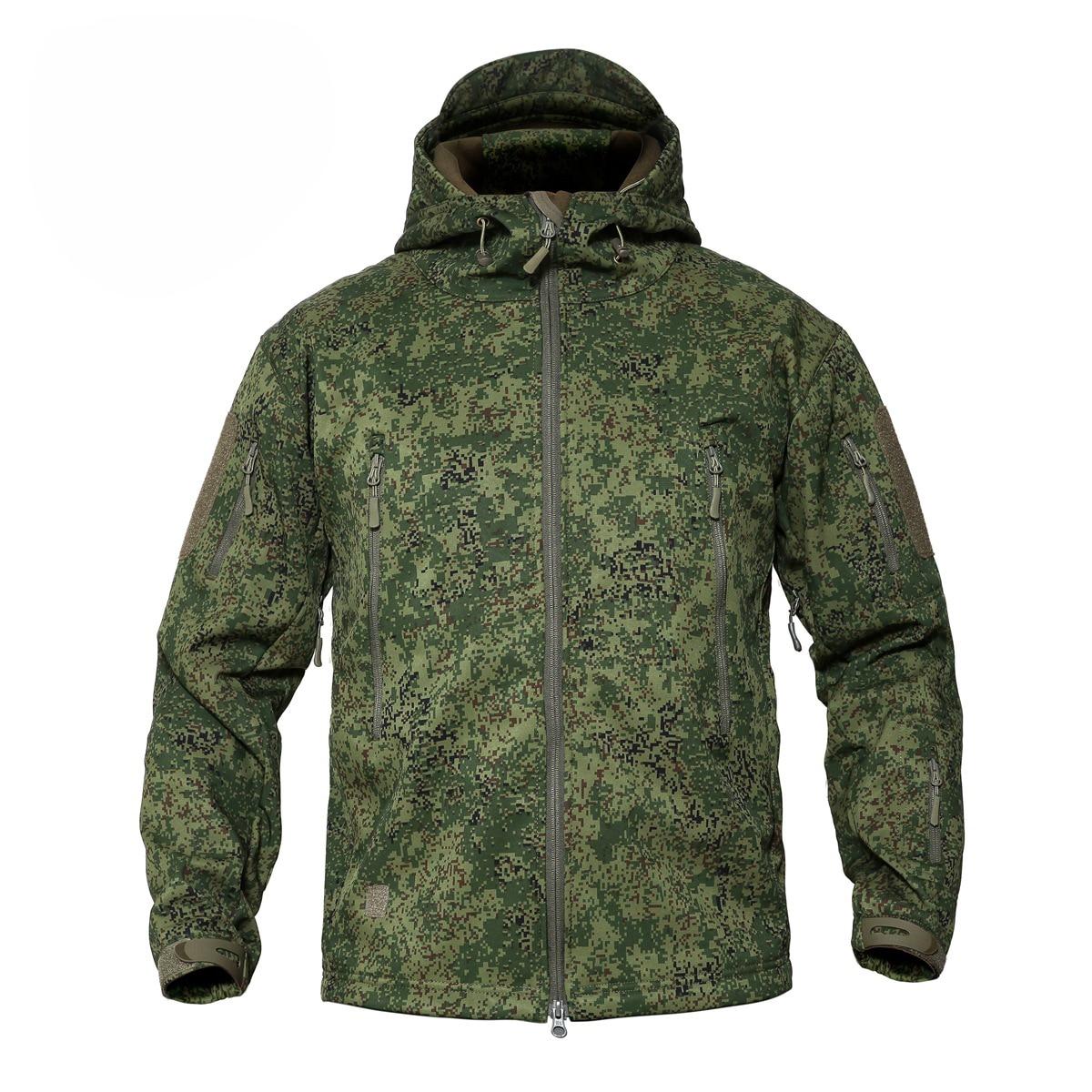 Russian Woodland Digital Camouflage Men's Jackets Outdoor Waterproof Softshell Hooded Tactical Jacket