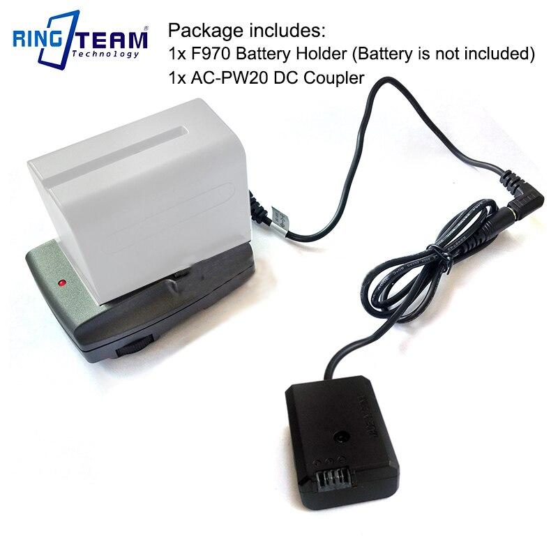 F970 Battery External Power Supply Holder + AC-PW20 PW20 DC Coupler for Sony NEX 3 3N 5 6 NEX-7 7R 7S A33 A55 A6300 A6500 Camera