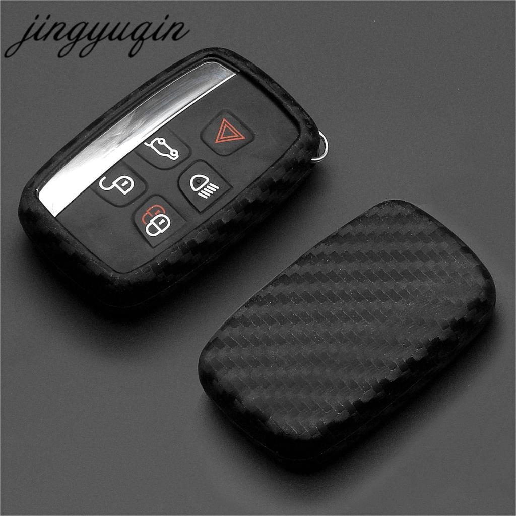 Jingyuqin Autosleutel Case Carbon Siliconen Cover Voor Land Rover Range Rover Sport Evoque Freelander 2 Jaguar Xe Xj Xjl xf C-X16 V12