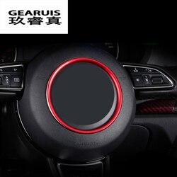 Anel de decalque em liga de alumínio, anel de decoração para volante de carro em liga de alumínio, vermelho e dourado, para audi a4 b6 b8 a6 c5 a3 a5 q5 q7