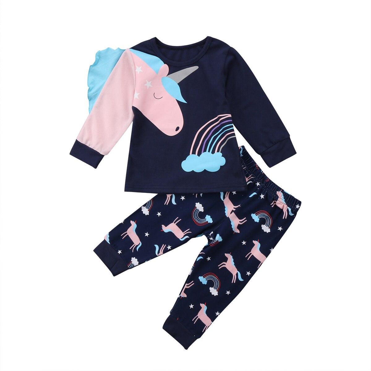 Royalblue, estampado de arco iris de unicornio, ropa de casa informal, bonitos niños, niñas, unicornio de algodón, Top, trajes con pantalones largos