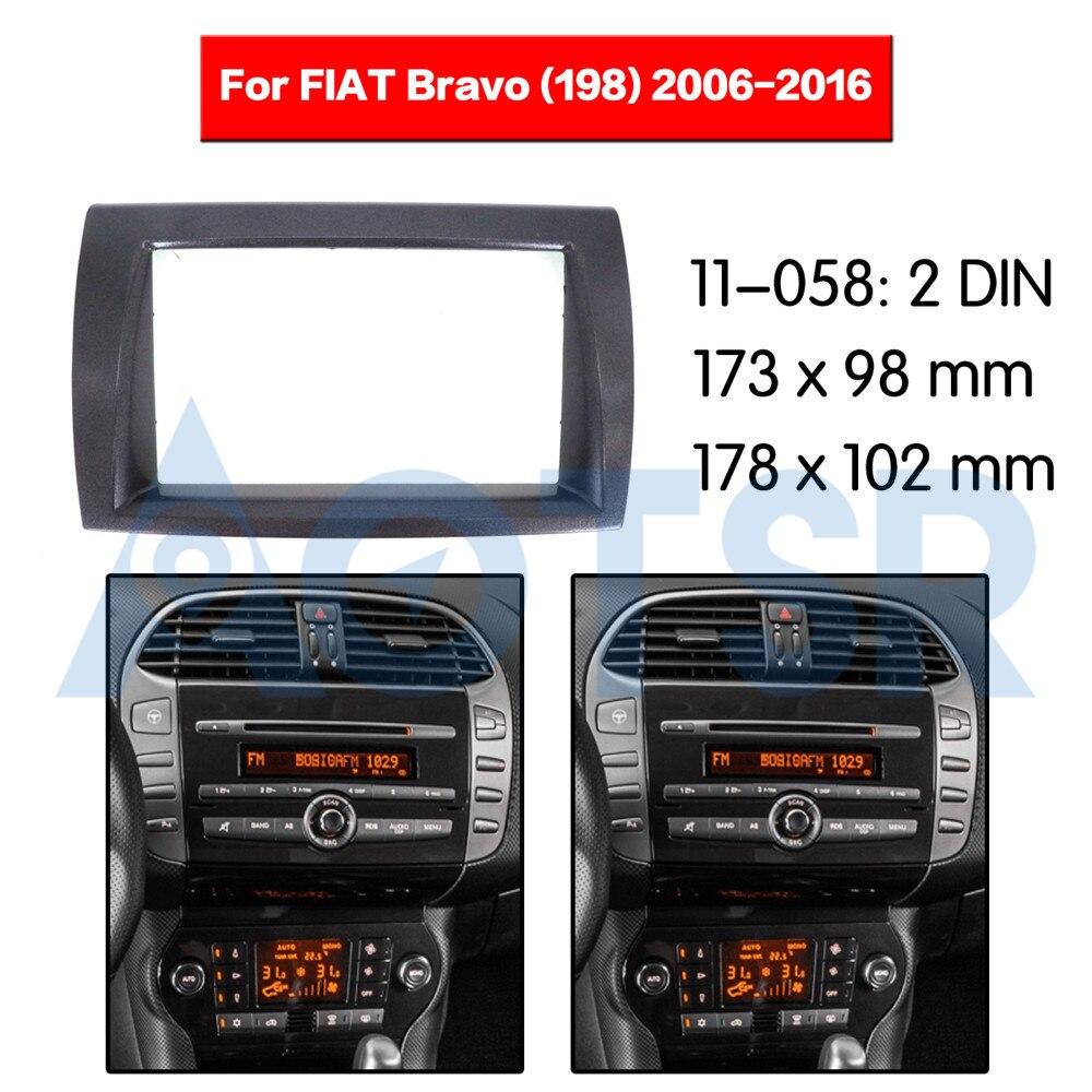 2 din rádio fascia para fiat bravo (198) 2006-2016 montagem em painel de áudio instalação kit traço quadro adaptador rádio estéreo dvd cd abs