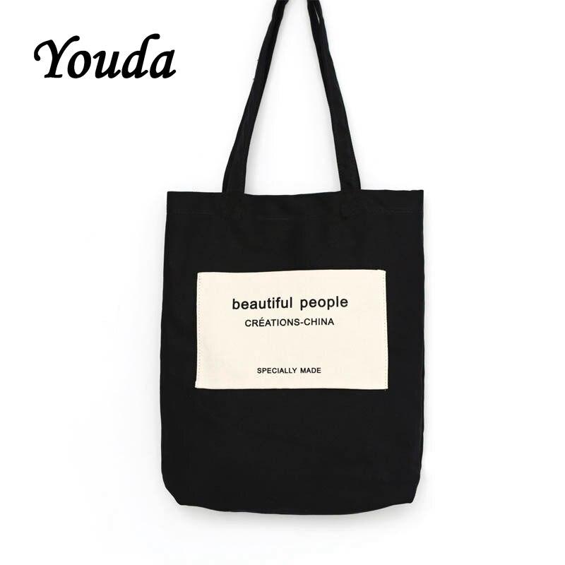 Youda nova moda original estilo simples senhoras saco de lona grande-capacidade sacola de compras senhoras bolsa de ombro prático