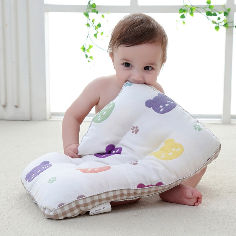 Almohada suave de gasa para bebé cómoda de algodón de grapa larga para recién nacidos bebé reposacabezas transpirable infantil almohada para niños
