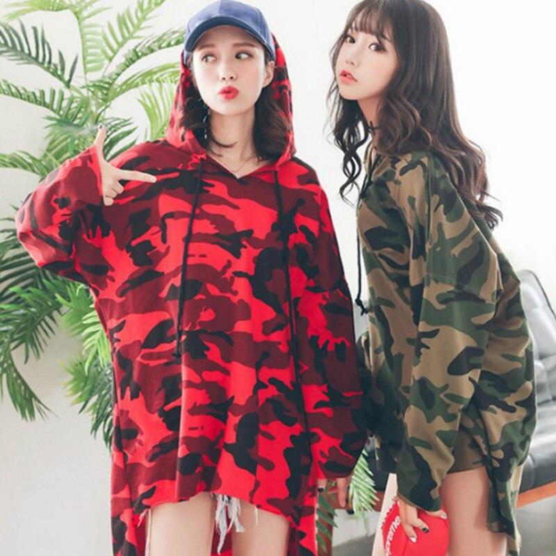 Sudadera larga de camuflaje con capucha Harajuku Camo con cordón sudaderas con capucha talla grande 3XL 2020 primavera holgada Sudadera con capucha para mujer