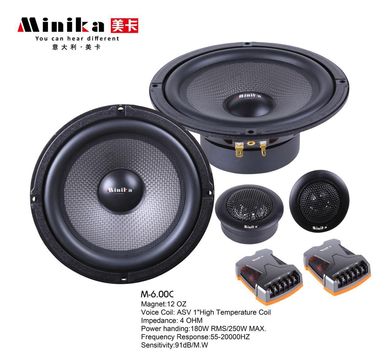Minika 6.5'' Inch Car Audio Speakers Sets 250W with Tweeter HIFI Car Speaker Set Coaxial Speaker 12v Loudspeaker Altavoces Coche