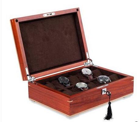 Lujosa sandalia roja original de 10 rejillas, caja de madera para guardar joyas, caja de madera para relojes, caja organizadora para relojes, bonito regalo, MSBH007d