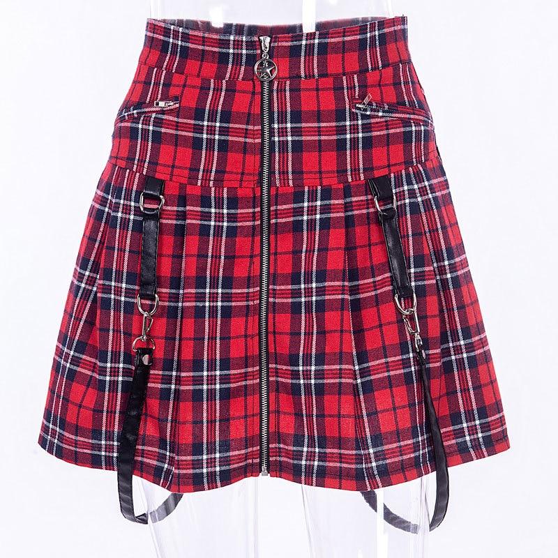 Vermelho xadrez harajuku punk rock gótico saia feminina cintura alta cinta zíper costura verão plissado mini saia para meninas