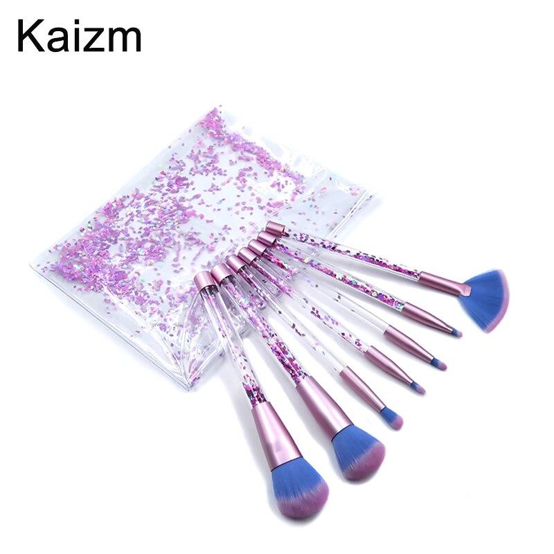 Juego de brochas para Maquillaje de cristal Kaizm con brillantina y diamantes, brochas para iluminar, brochas correctoras para maquillaje, brocha de sirena de regalo