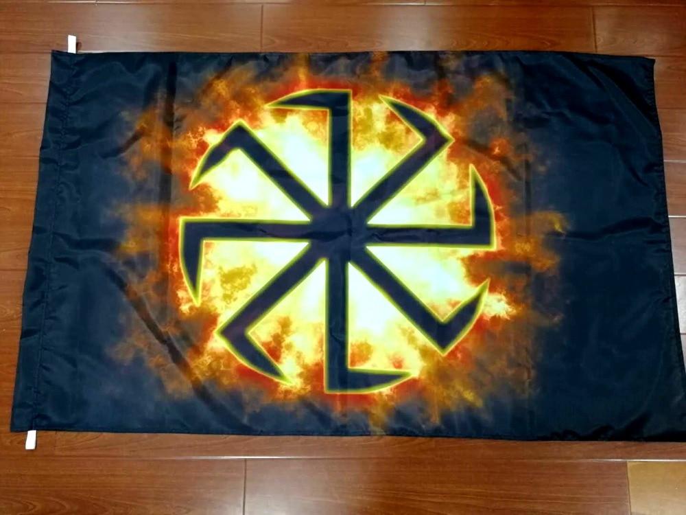 Xiangying 90x135cm russische rad Slawischen Kolovrat Runes Acht Ray Flagge