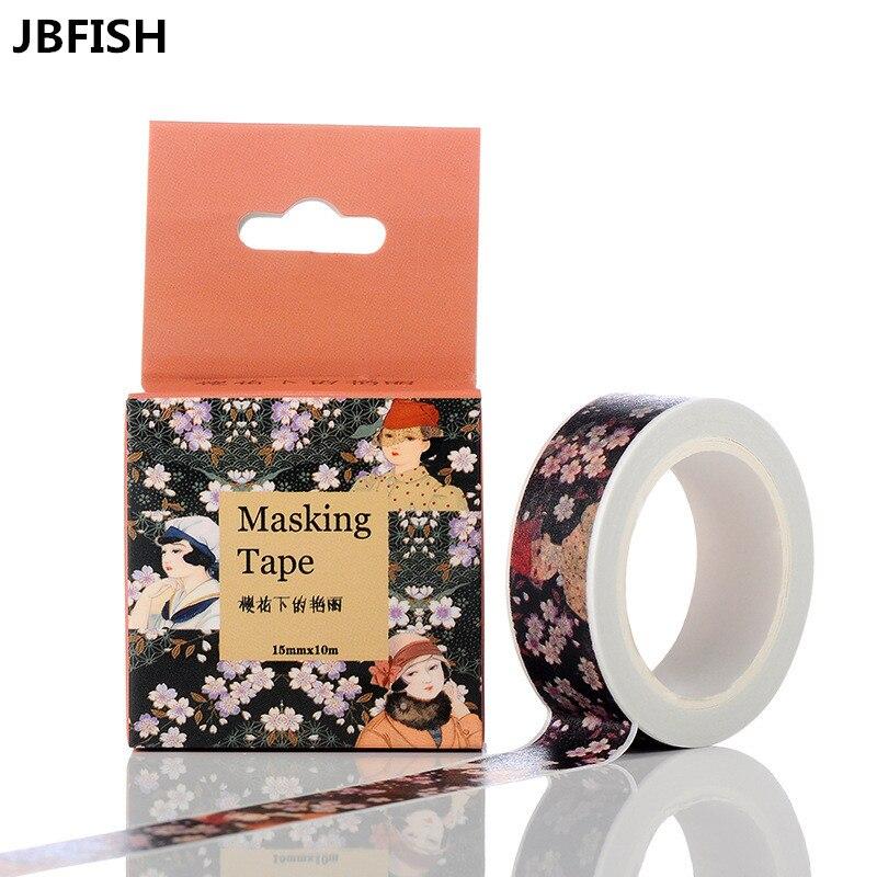 Японская бумага в цвету вишни, клейкая лента для офиса, декоративные канцелярские наклейки 3056, 1,5 см * 10 м