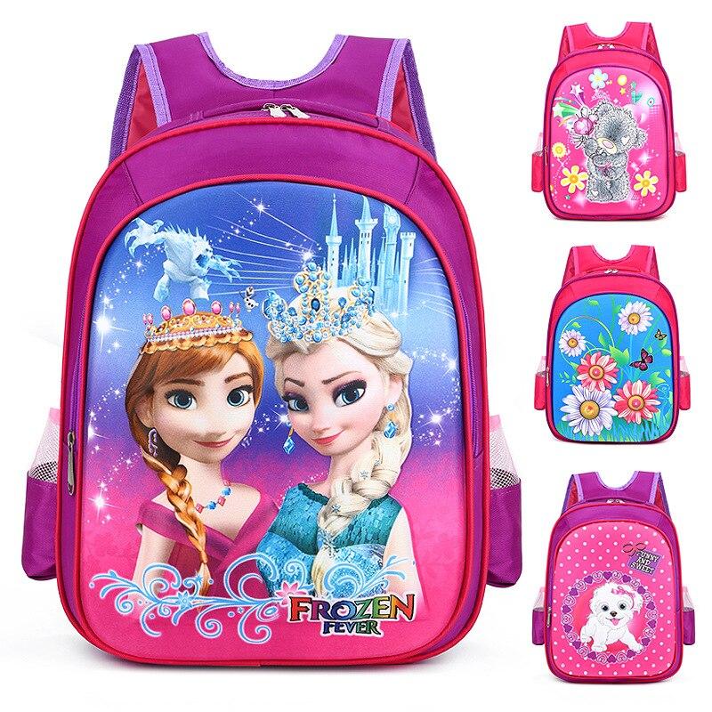 De los niños de Disney bolso de escuela de dibujos animados princesa congelados mochila 3D mochilas escolares los niños libros de bolsos tridimensionales