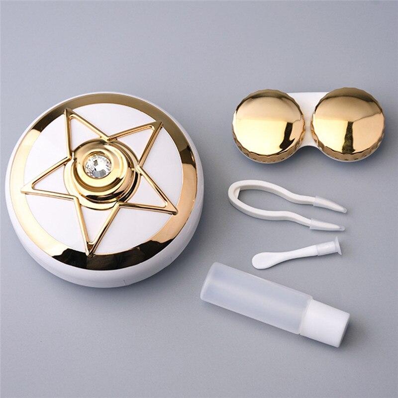 Imixlot 1 Set Pentagramm Muster Gläser Kontaktlinsen Box Kontaktlinsen Fall für Frauen Augen Pflege Kit Halter Container