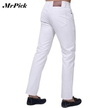 Jeans Men 2015 New Brand Fashion Solid Slim Fit White Blue Black Candy Colors Plus Size Mid Straight